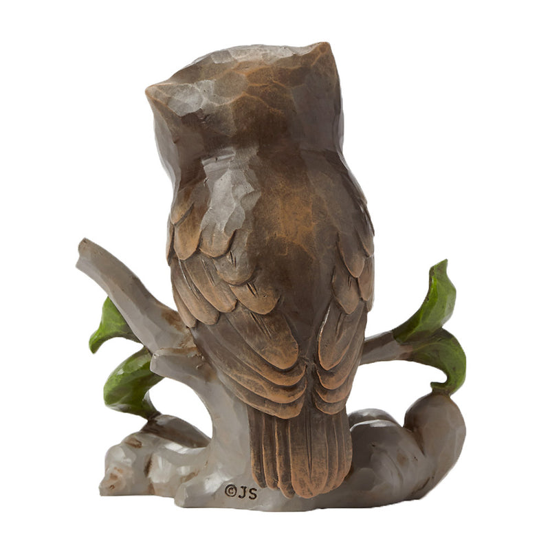 jim shore mini owl on branch figurine back view
