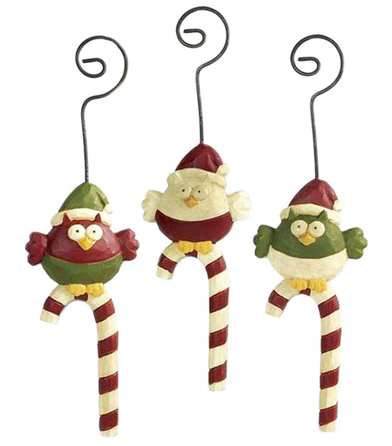 blossom bucket owls on candy canes ornaments