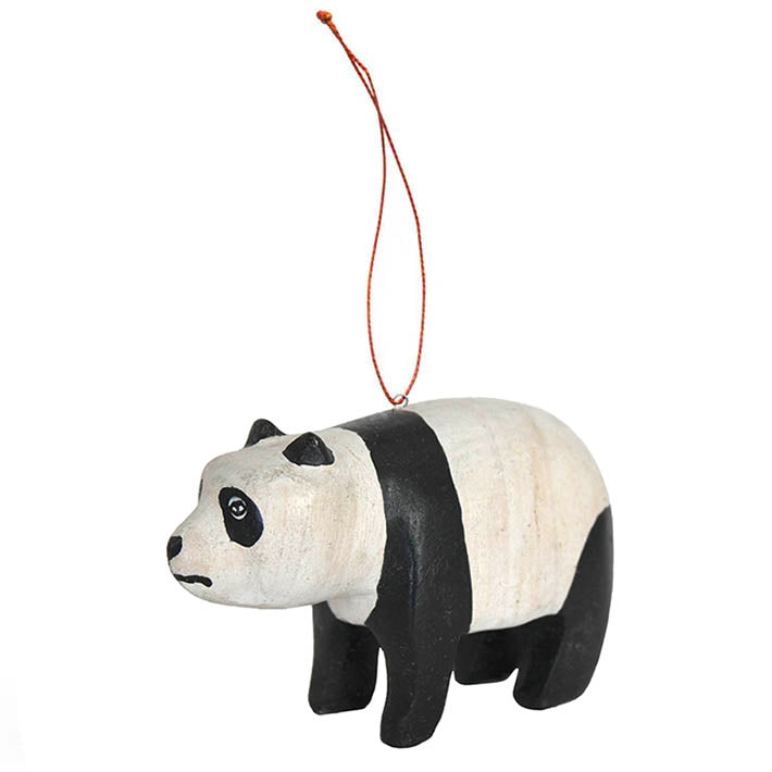 carved wood panda ornament