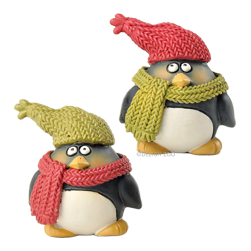 blossom bucket penguins in scarves and hats figurines