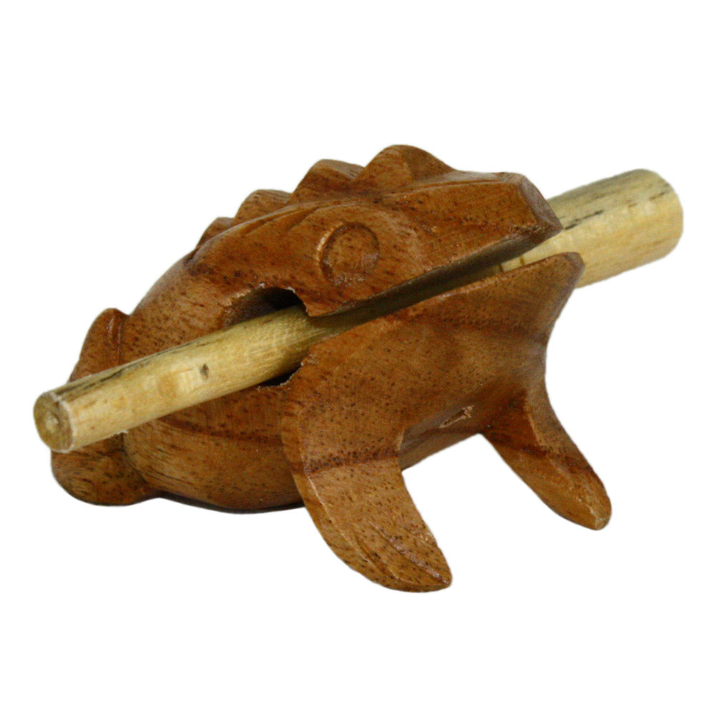 hand carved wood percussion frog