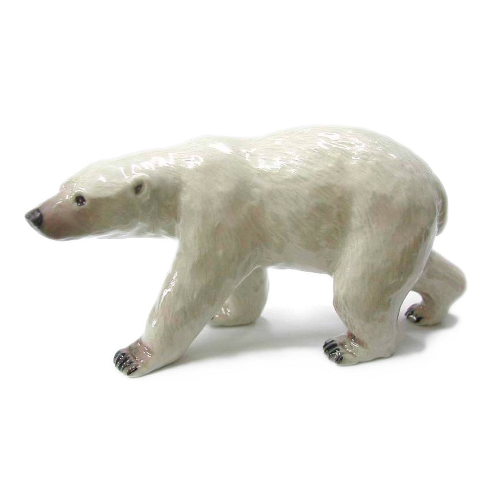 miniature polar bear walking porcelain figurine