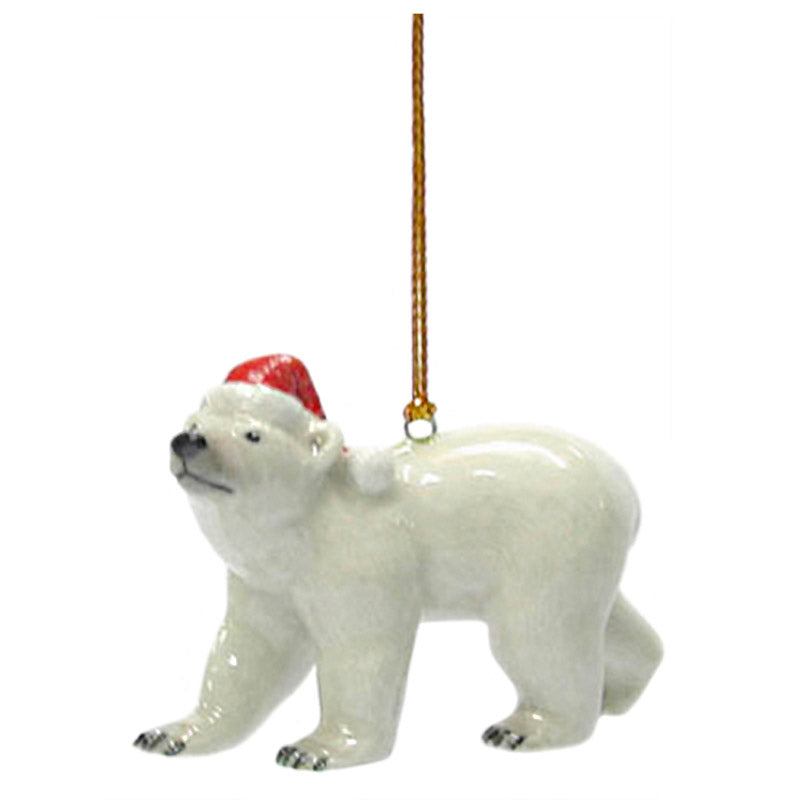miniature porcelain polar bear in santa hat ornament full view