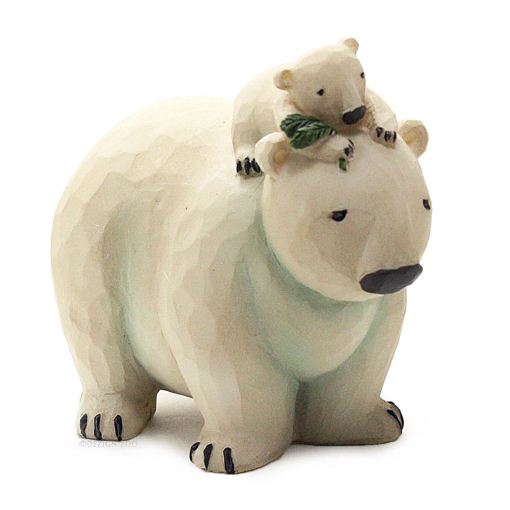 blossom bucket polar bear and cub with pine bough figurine