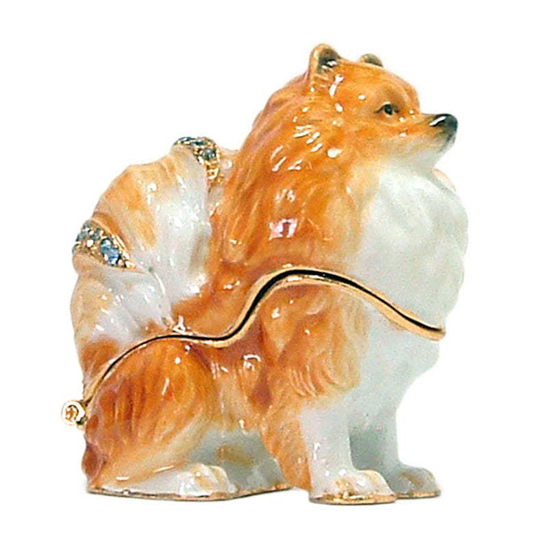 crystal accented pomeranian dog keepsake box