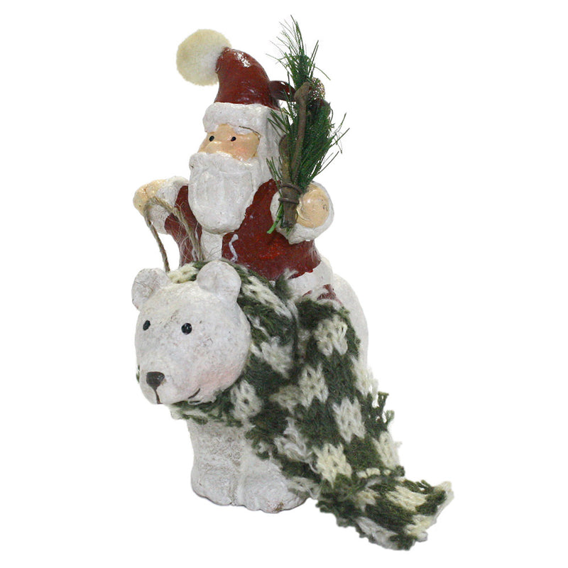 santa with pine bough riding polar bear ornament left side view