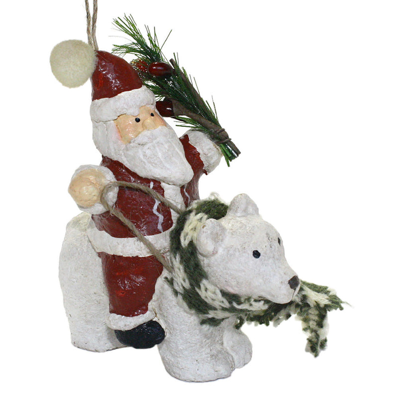 santa with pine bough riding polar bear ornament