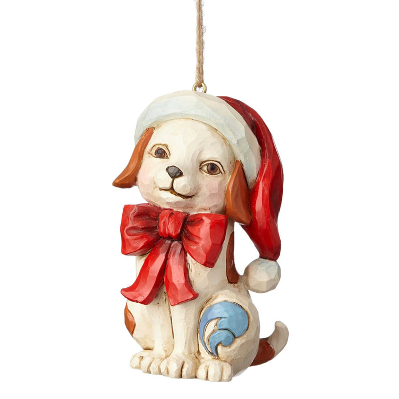 jim shore puppy in red bow ornament