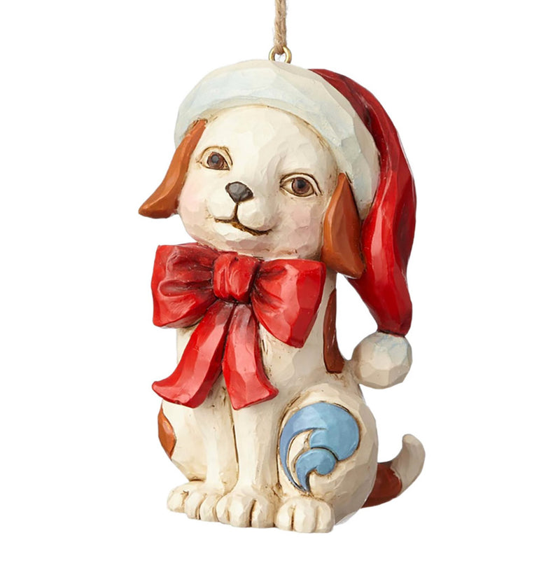 jim shore puppy in santa hat ornament