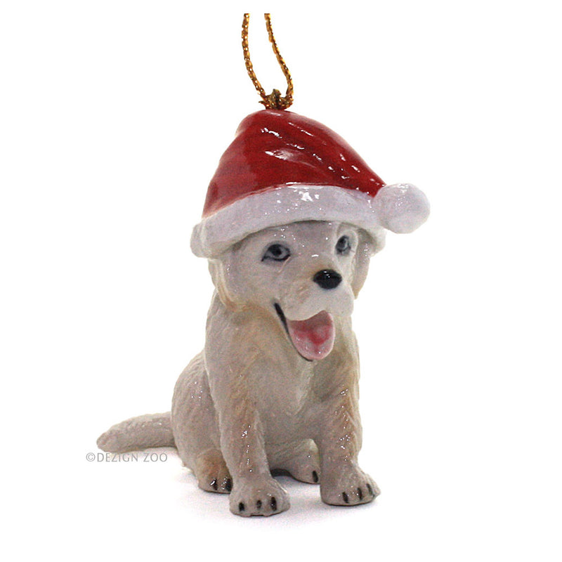 porcelain puppy in santa hat ornament front view