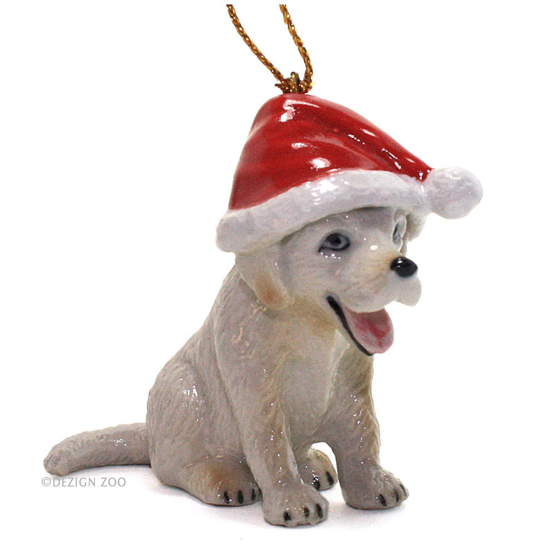 porcelain puppy in santa hat ornament