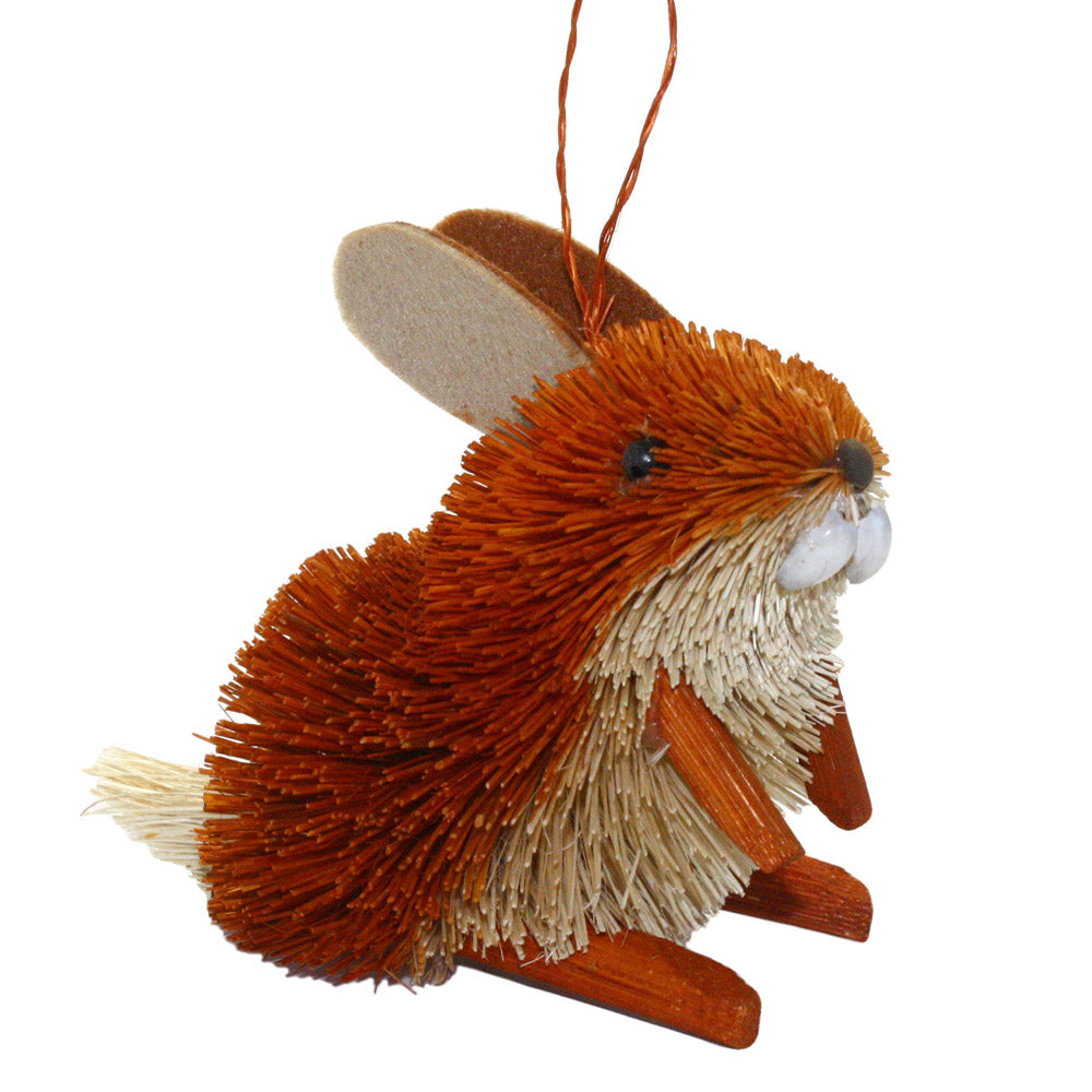 abaca fiber bottle brush rabbit ornament