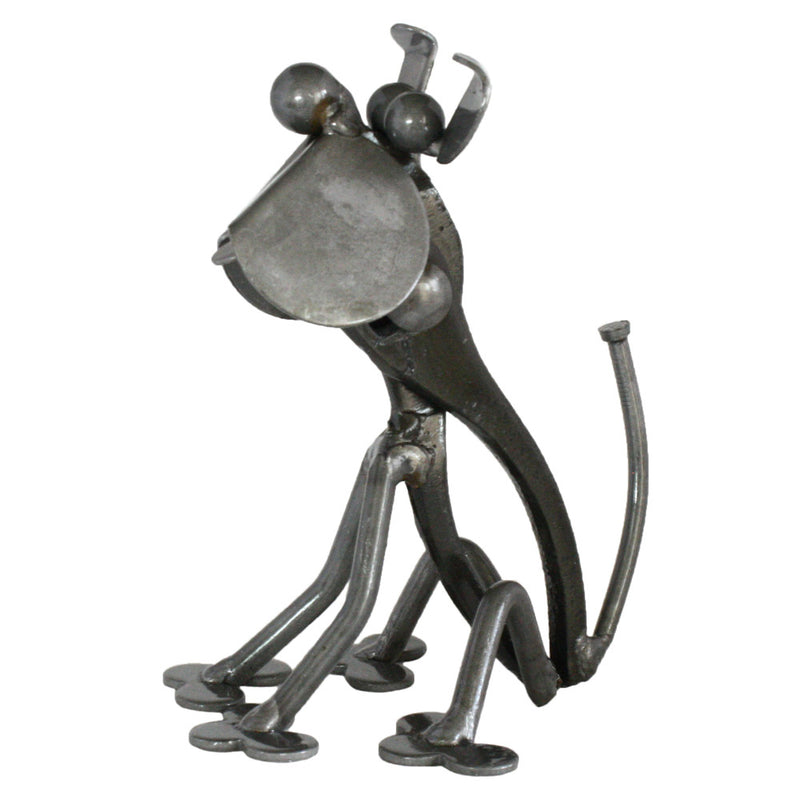 metal and tool hound dog figurine sculpture
