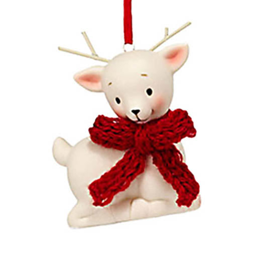 dept 56 knit wits deer with red bow ornament