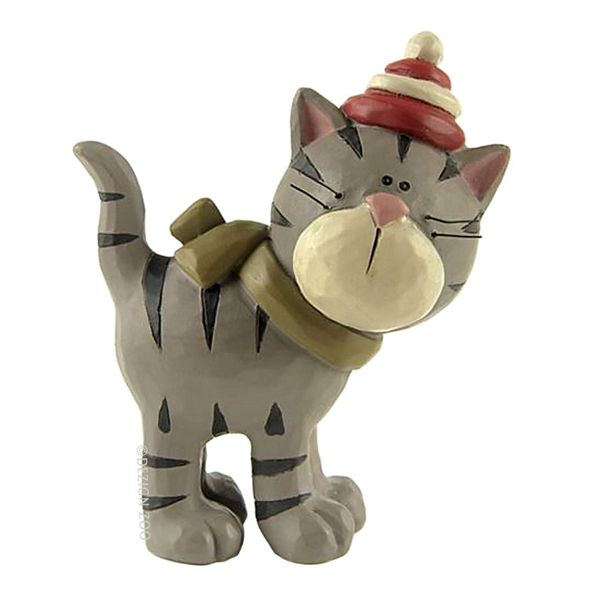 blossom bucket gray tiger cat in hat figurine