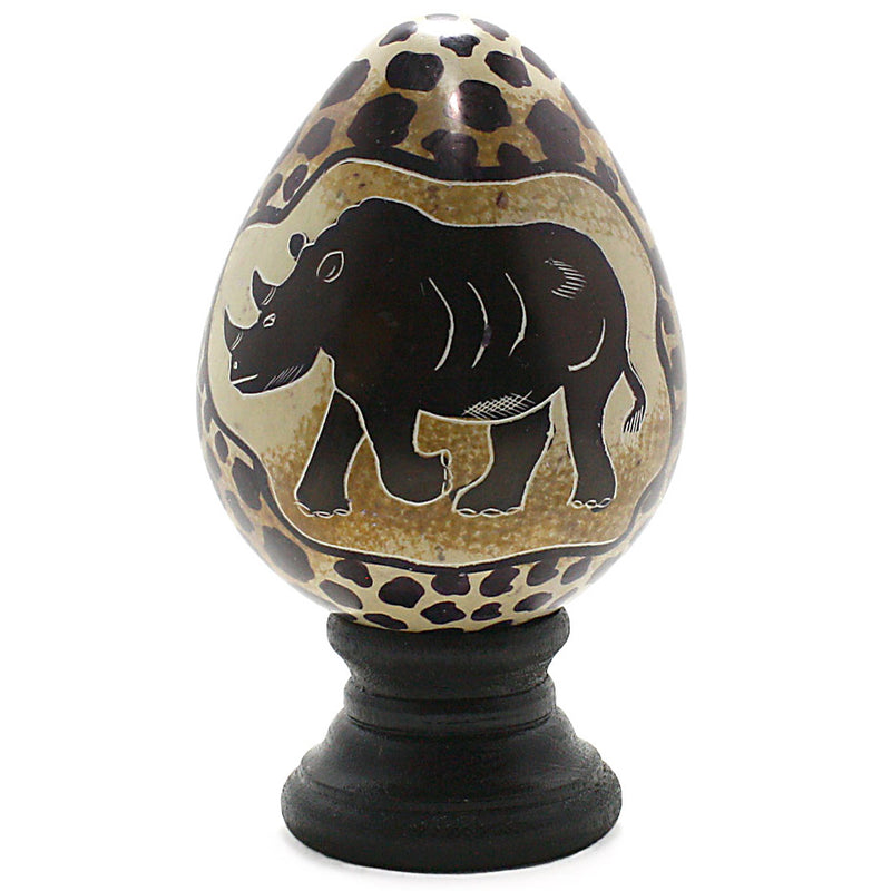 carved soapstone rhinoceros egg with stand