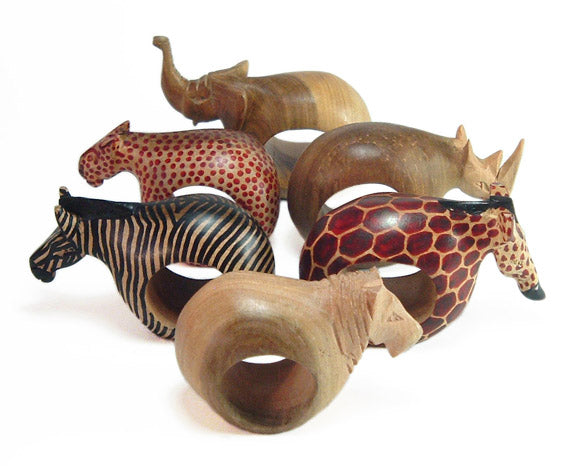 wood africa safari animal napkin rings