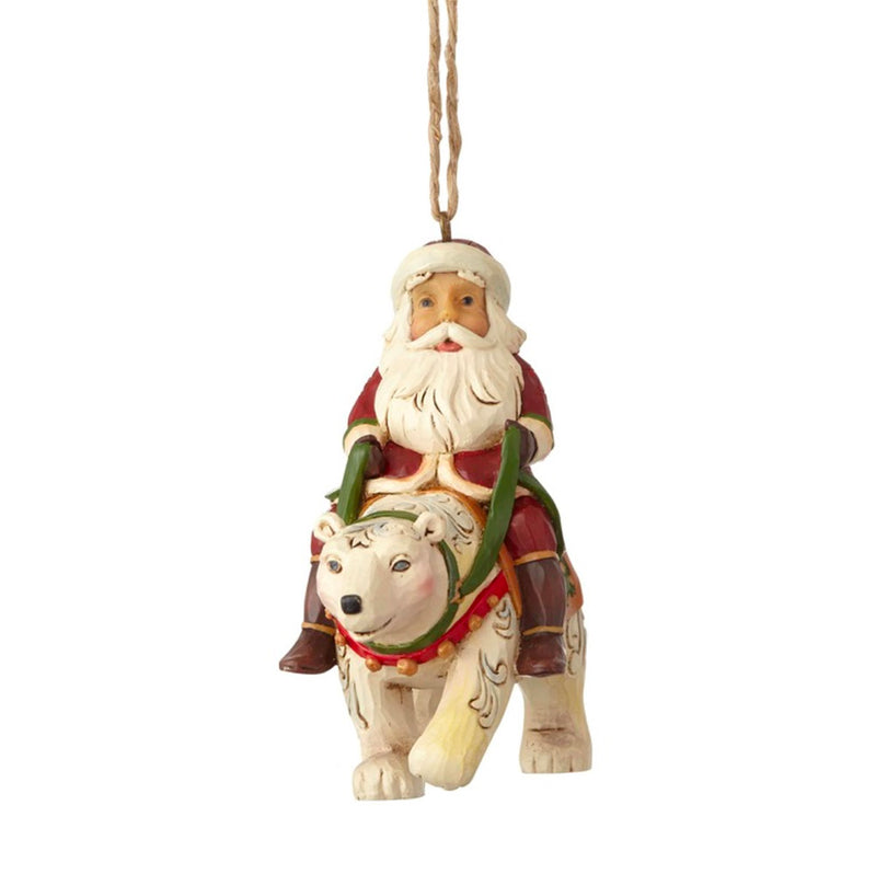 jim shore santa riding polar bear ornament front view