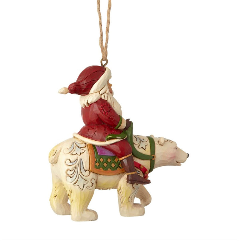 jim shore santa riding polar bear ornament alt view
