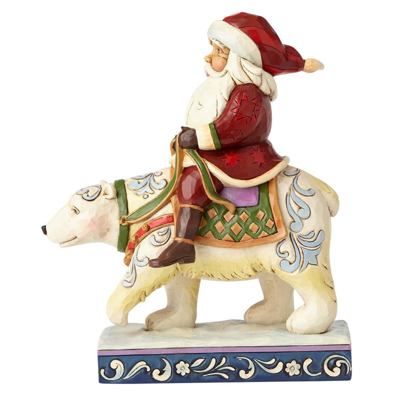 jim shore santa riding polar bear figurine alt view