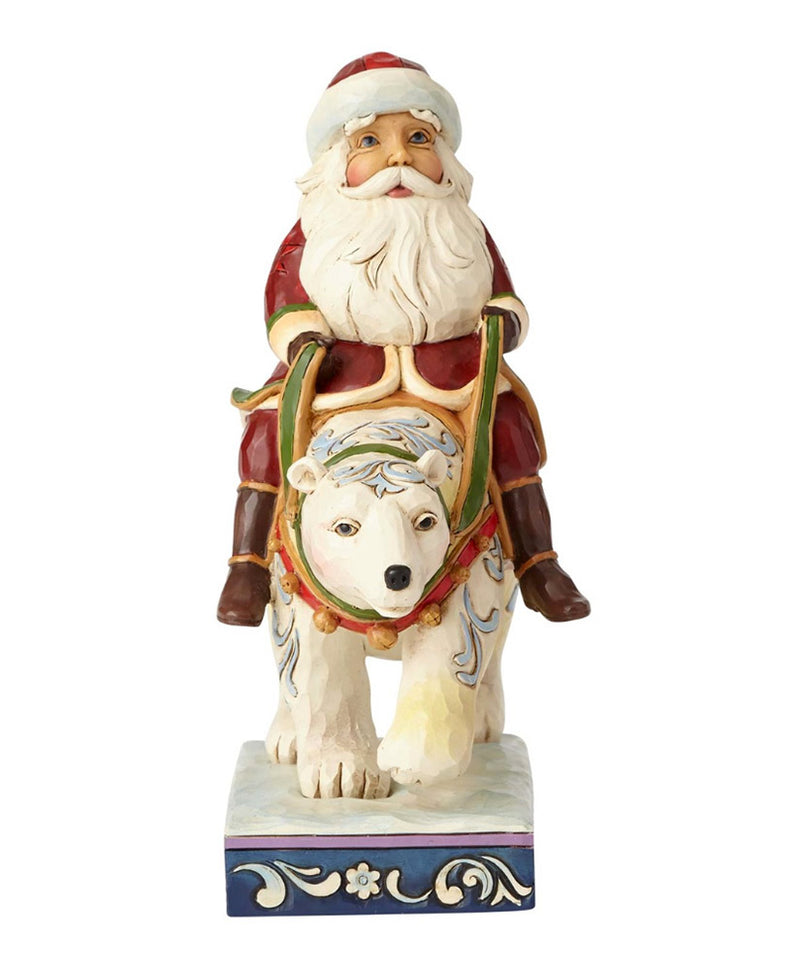 jim shore santa riding polar bear figurine front view
