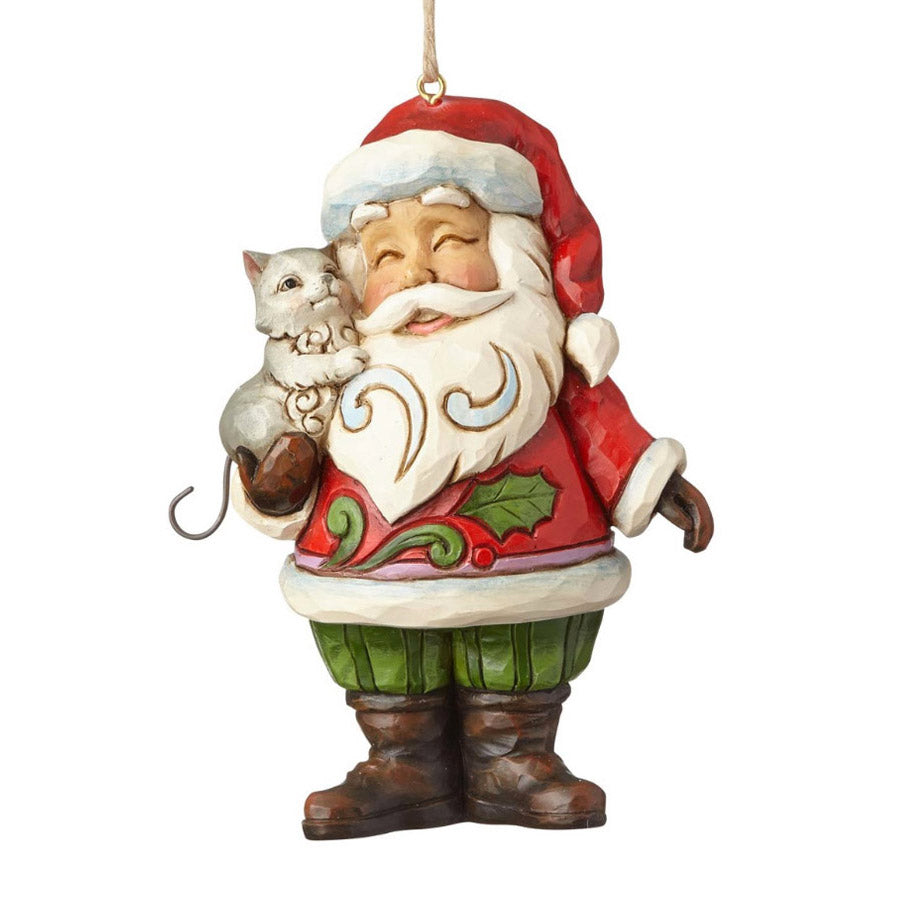 jim shore 4058824 santa with cat ornament