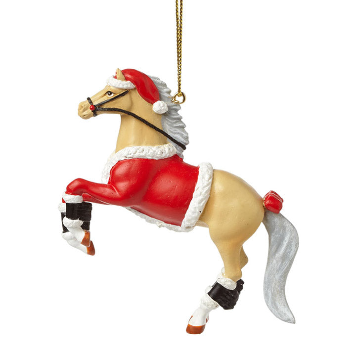 trail of painted ponies santa pony palomino horse ornament
