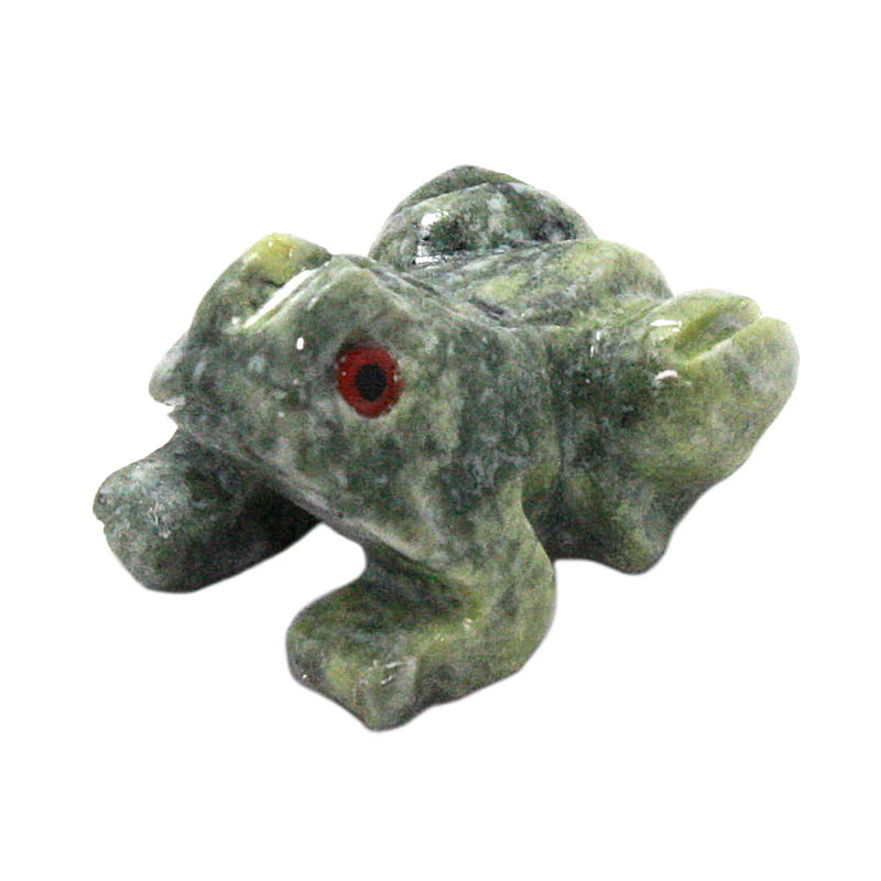 miniature serpentine stone frog left side view