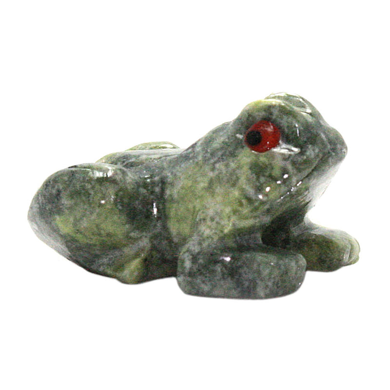 miniature serpentine stone frog right side view