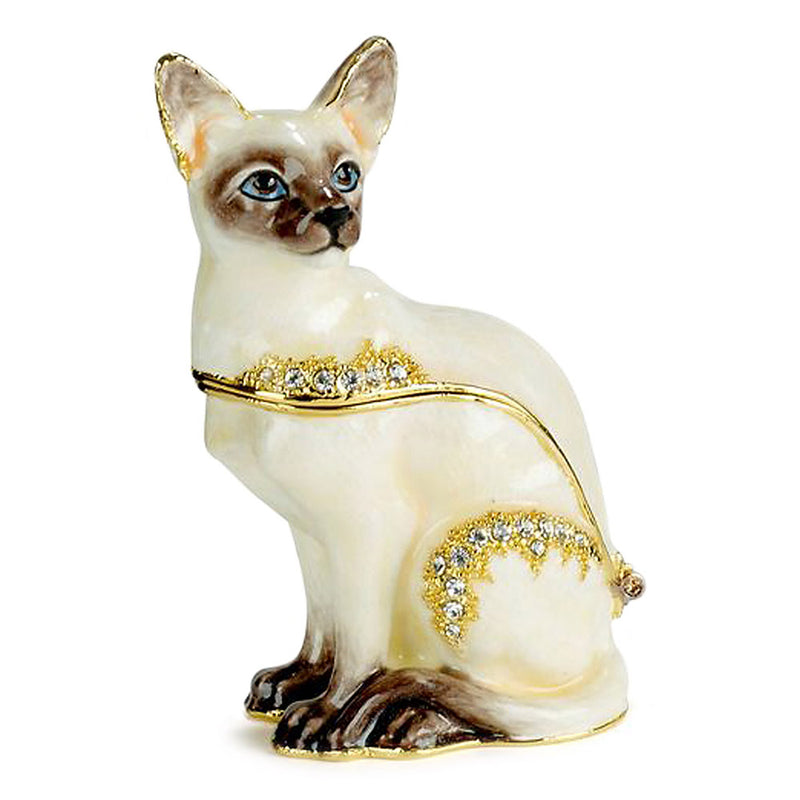 bejeweled siamese cat trinket box