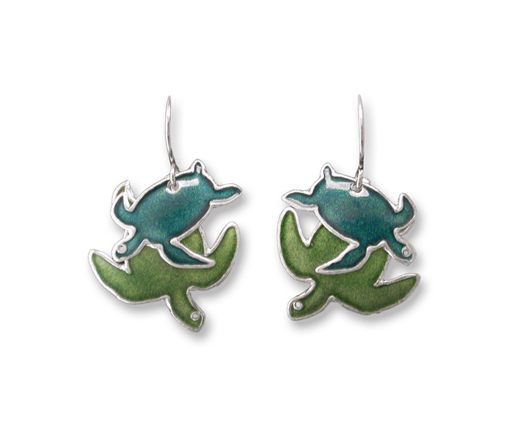 enameled sterling silver sea turtle earrings