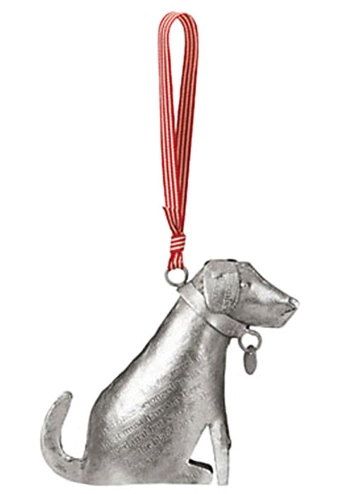 stamped silver metal dog ornament full view
