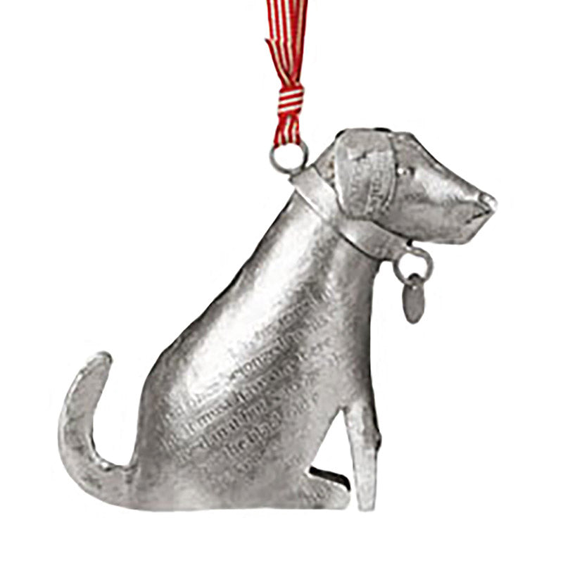 stamped silver metal dog ornament
