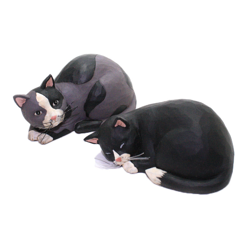 blossom bucket black and gray sleeping cats figurines