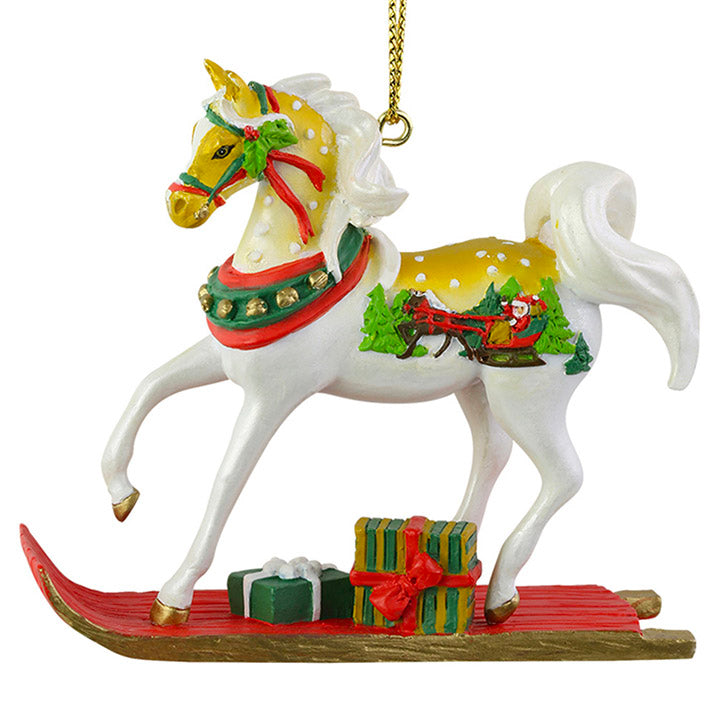 trail of painted ponies sleigh ride christmas ornament