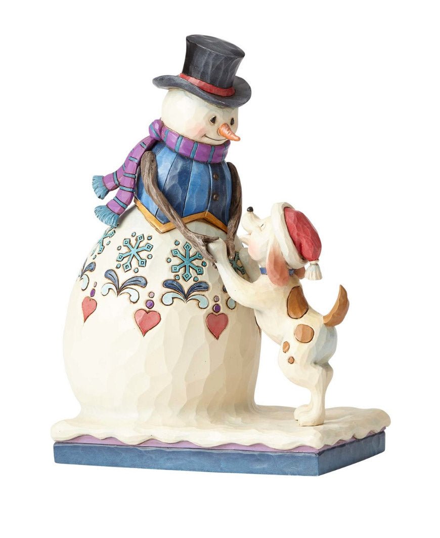 jim shore snowman and puppy figurine
