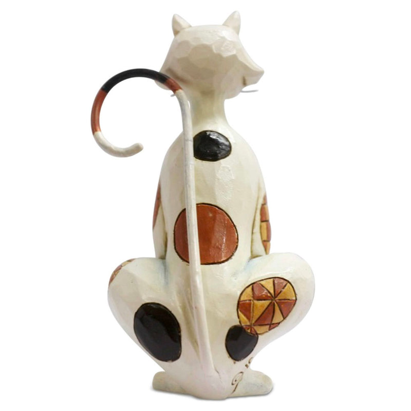 jim shore mini spotted cat figurine back view