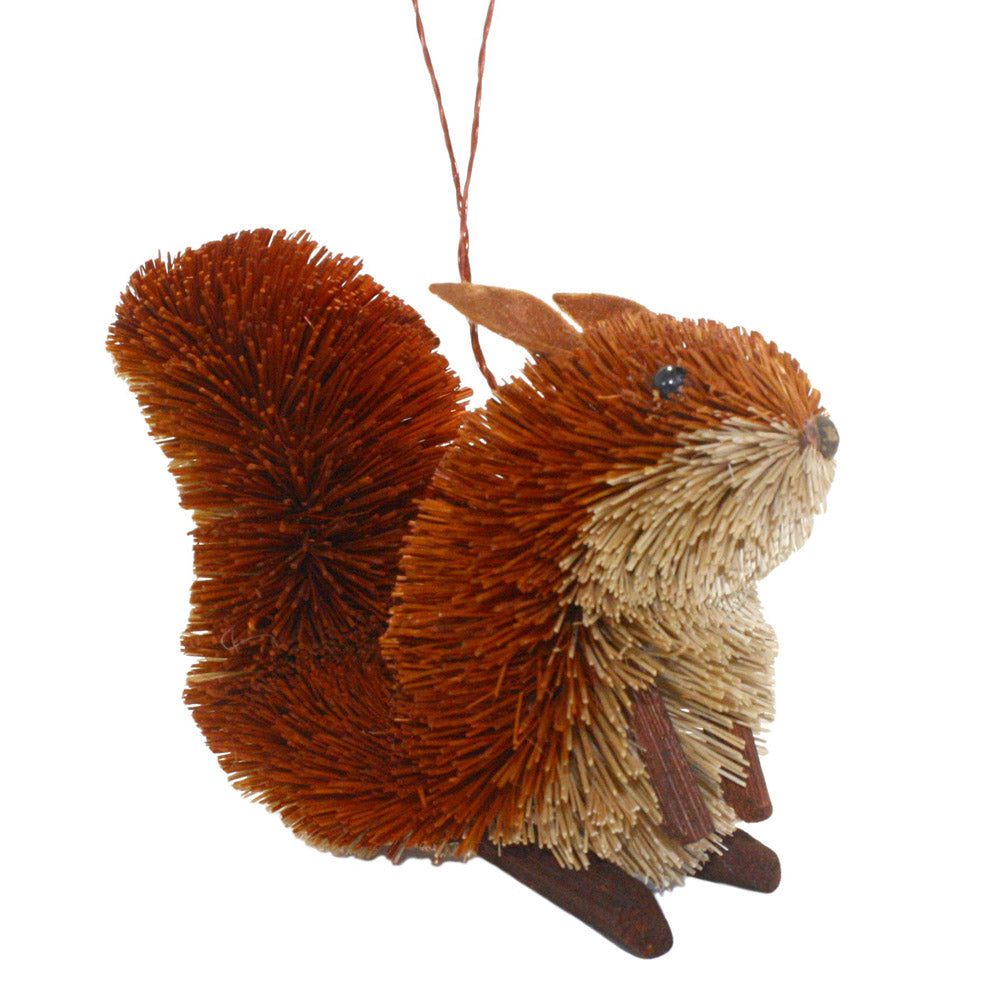 abaca fiber bottle brush squirrel ornament