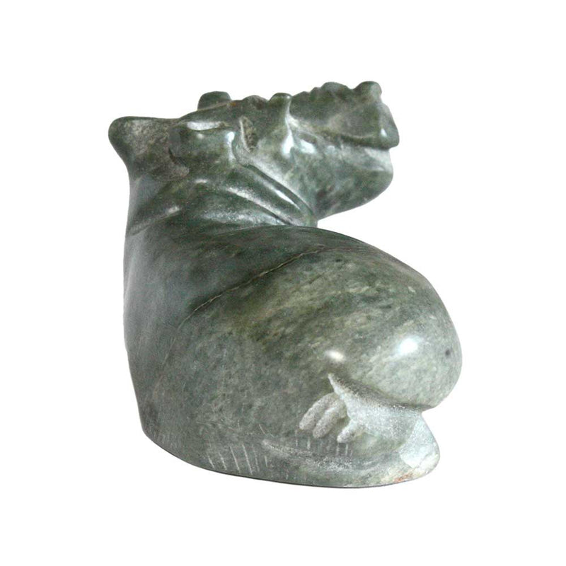 hand carved stone hippo figurine back view