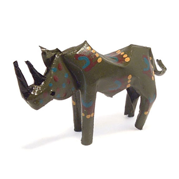 recycled metal rhino sculpture