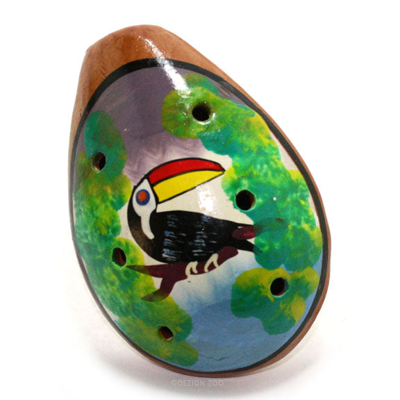 toucan bird design clay ocarina