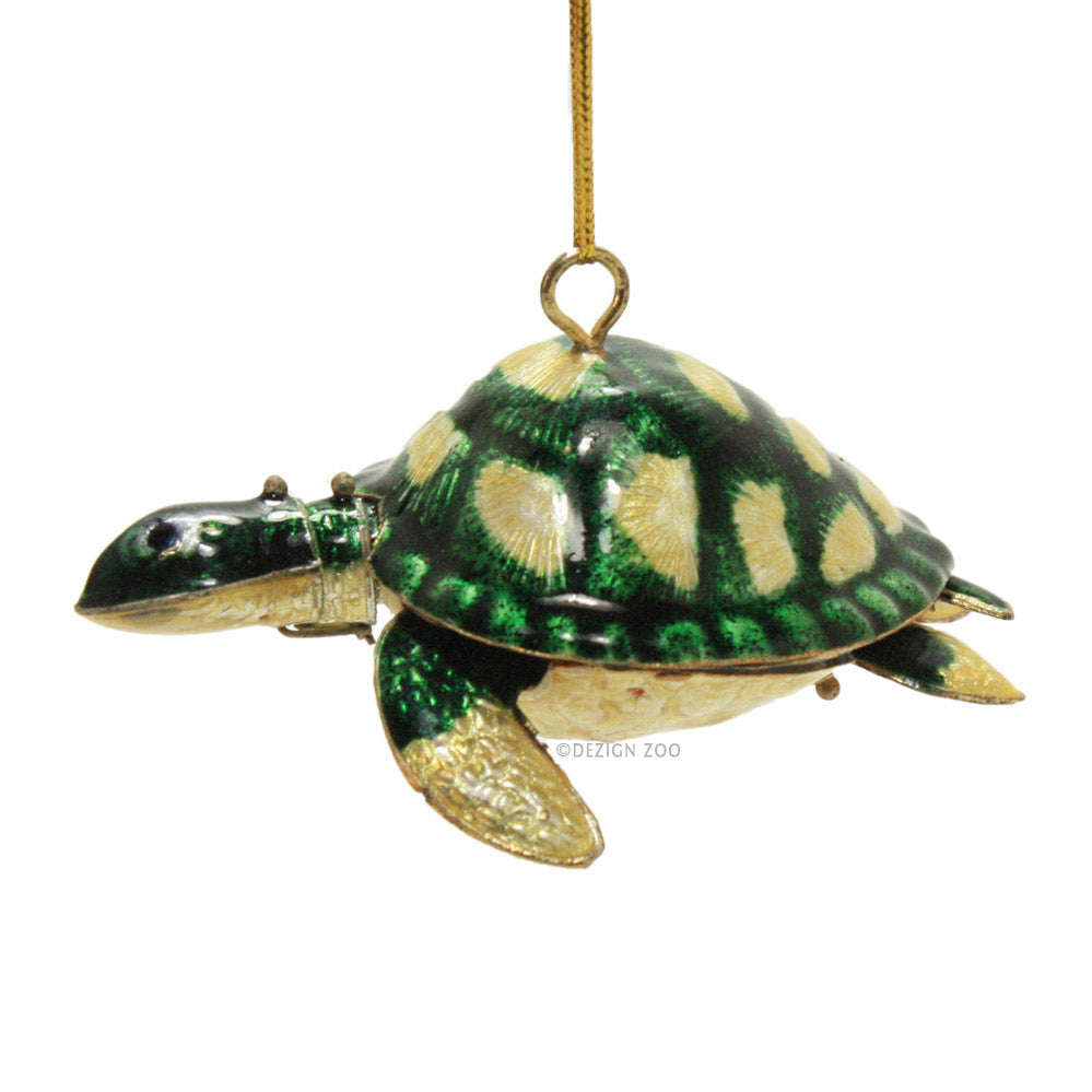 Articulated Cloisonne Green Sea Turtle Figurine Ornament