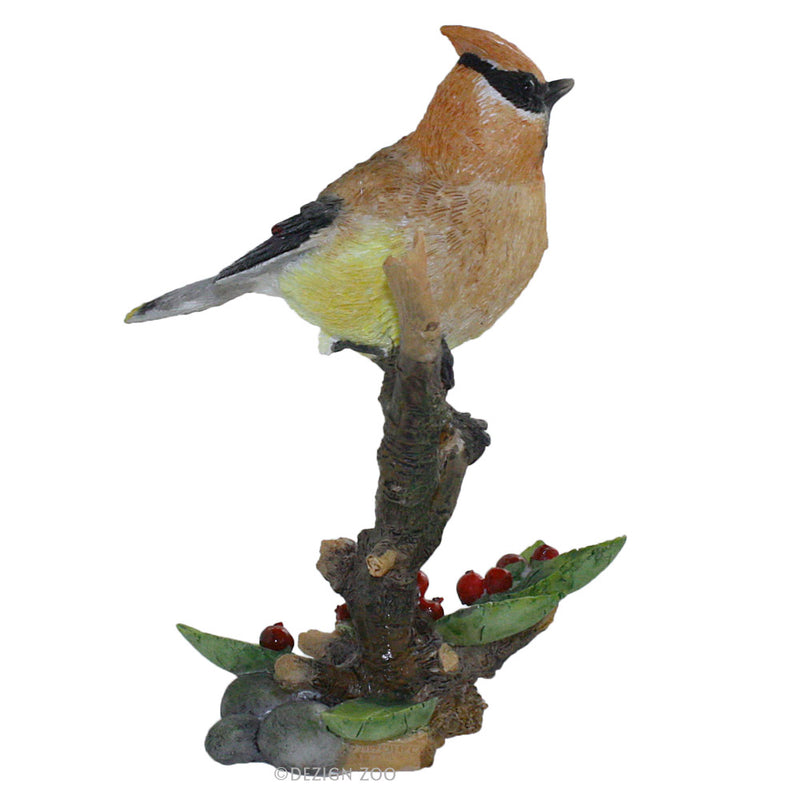 cedar waxwing bird figurine right side view