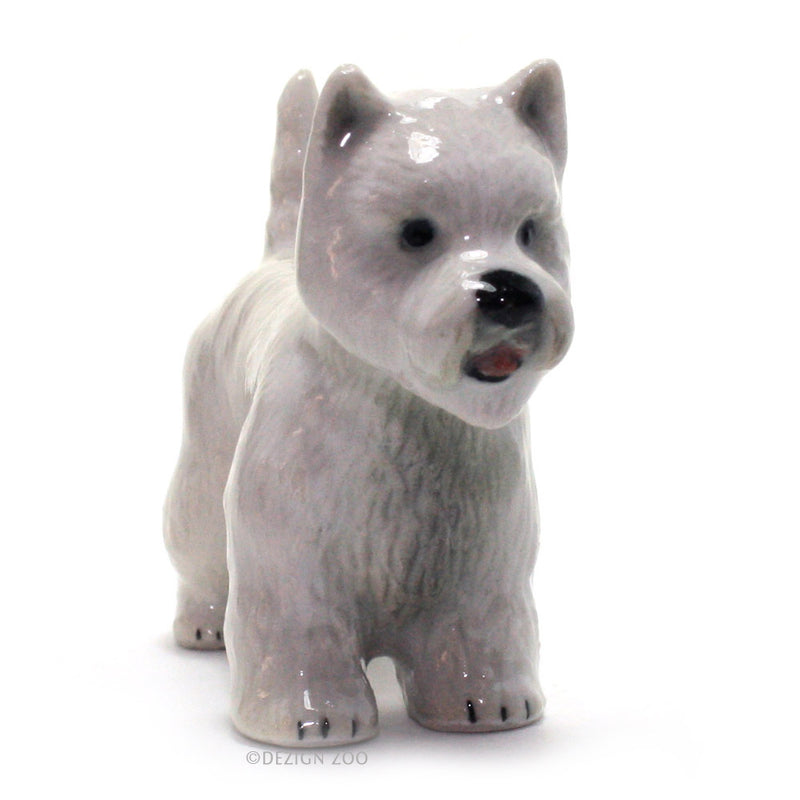 miniature porcelain west highland terrier figurine front view