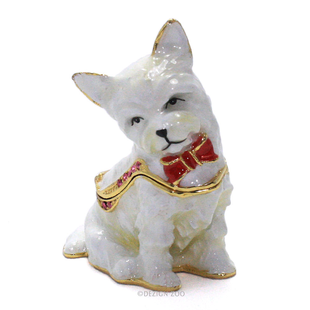 bejeweled west highland terrier trinket box