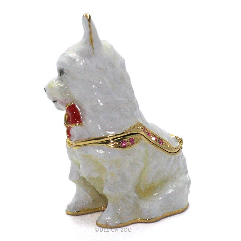 bejeweled west highland terrier trinket box side view