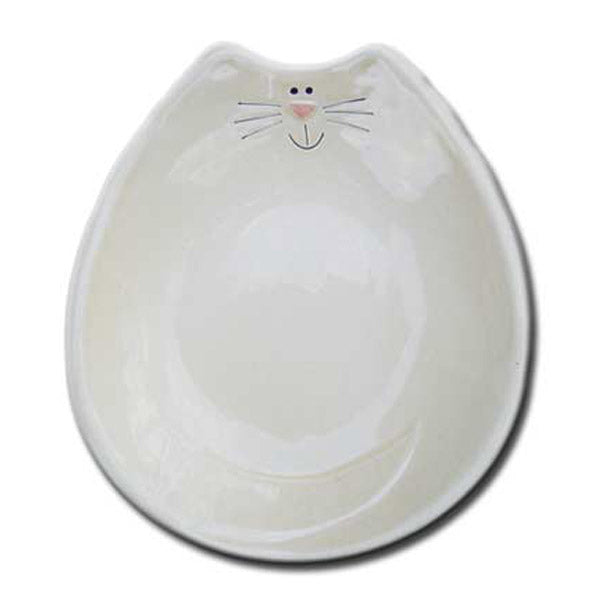ceramic white cat feeding dish