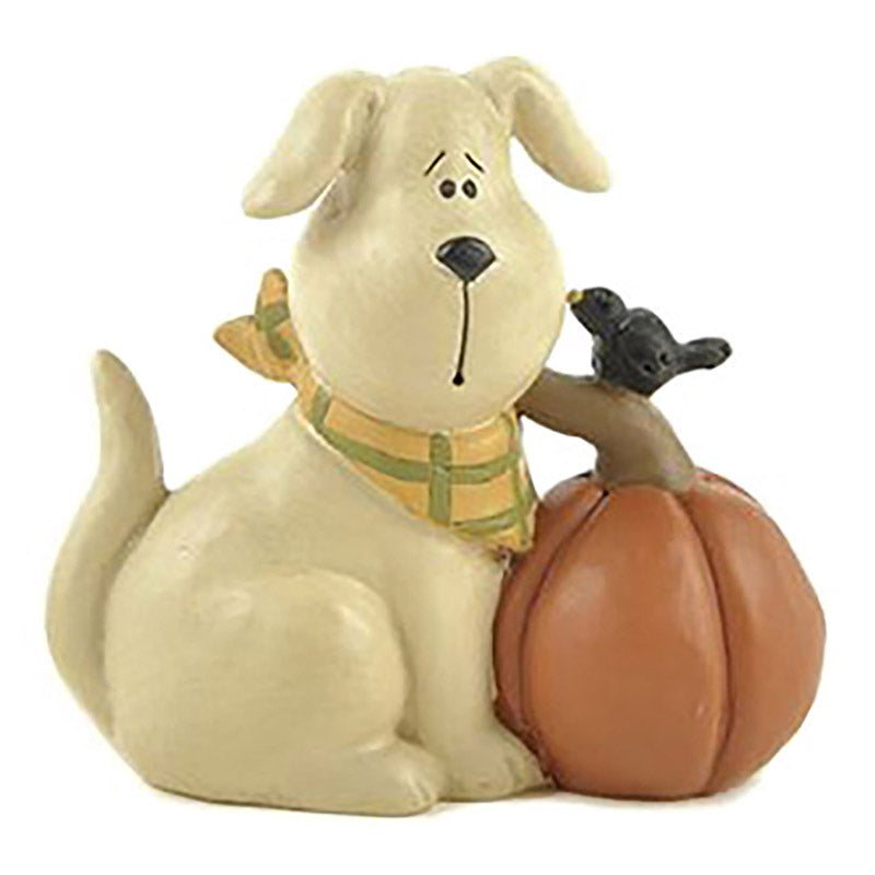 blossom bucket white dog and pumpkin figurine