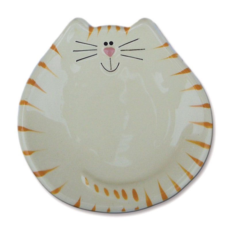 ceramic white and yellow tiger cat spoon rest