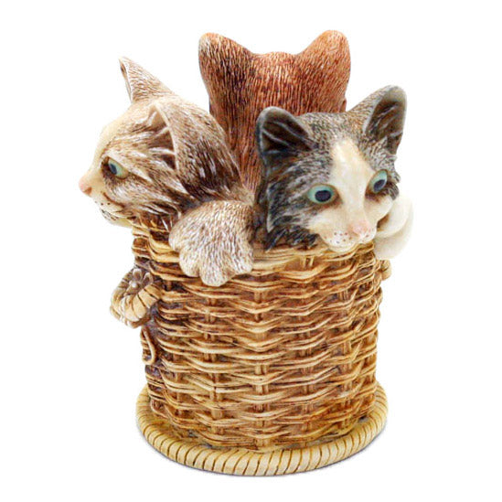 harmony kingdom wicker and whisker kittens in basket